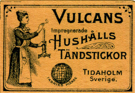 vulcan match box label